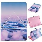 """Skytar Carcasa Samsung Galaxy Tab A de 9,7"""",Protección de PU Cuero Folio Case Carcasa Funda para Samsung Galaxy Tab A SM-T550 / SM-T555 (9.7'' Pulgadas) Tablet Cover con Stand Función,nubes blancas"""