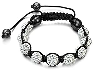 Swarovski Crystal Bead Shamballa Bracelet with 9 10mm Iced out Disco ball beads covered in crystals and 4 highly polished Hematite beads