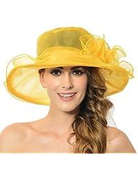 9bc49d76a0f1b Discoball Women s Sun Hat - Floral Organza Flat Large Wide Brim Gauze Kentucky  Derby Cap -