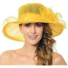 Discoball Mujeres de Sol Sombrero – Soporte de Gran ala Ancha de Organza de  Flores Gasa c1d2bd98521