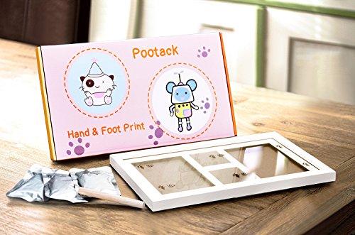 【Versión actualizada】Pootack Kit de Marco de Huellas de Mano y Pie de Bebé  Regalos Originales para el Recién Nacido y Fiesta de Bienvenida al Bebé   Dos Marcos y Dos Huellas