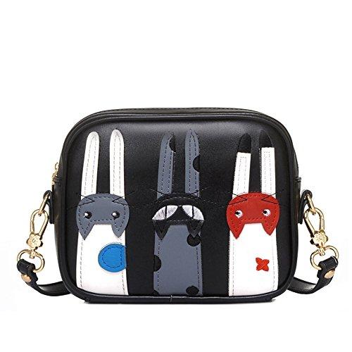 donne ragazze moda stampa gatto sacchetto di spalla Borsa a tracolla messenger bag, grigio Nero