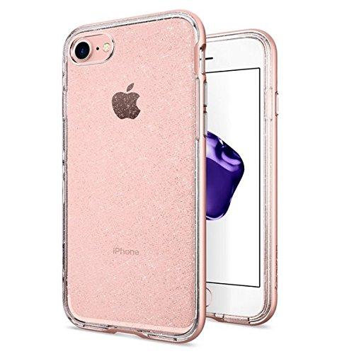 Cover iphone 7, spigen® cover custodia [neo hybrid crystal] flessibile interno corpo e telaio rinforzato dura del respingente per iphone 7 (2016) - glitter rose quartz