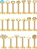 20 Pieces 16G Nose Studs Stainless Steel Nose Lips Cartilage Piercing Jewelry for Women Favors (Gold)