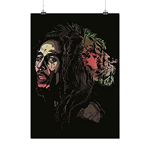 Marley Lion Légende Rasta Un Amour Matte/Glacé Affiche A3 (42cm x 30cm) | Wellcoda