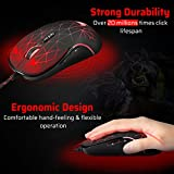 Redimp Gaming Mouse RGB Backlit 7 Programmable Buttons 4000 DPI Optical Sensor Ergonomic USB Wired For MacBook iMac Chromebook Surface Pro PC Computer Laptop Notebook GM200-A