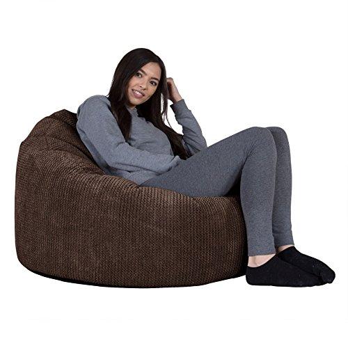 LOUNGE PUG®, 'Mini-Mammoth' Sitzsack, Sessel, Pom-Pom Schoko