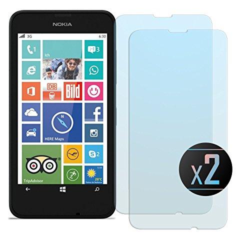 NEVEQ 2 x Pellicola Vetro Temperato Nokia Lumia 630 Protezione dello Schermo Pellicola Protettiva Display per Nokia Lumia 630 (4.5 in) Pollici Protezione Esterna