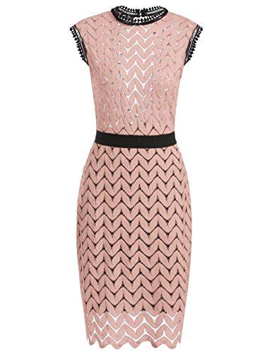 Meaneor Damen Elegant Retro Vintage Rockabilly Kleid SpitzenKleid  Rückenfreies Kleid Partykleid Cocktailkleid Sommerkleid Kurzarm Knielang  Festlich