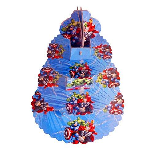 Avengers Cupcake Ständer aus Karton–3-Tier-Runde Turm–Für Kinder Geburtstag Partys und besondere Anlässe von trimmen Shop®