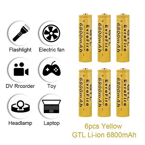 onedeal GTL 18650 3.7V 6800mAh Batería Recargable de Ion Litio para Linterna led RC1062