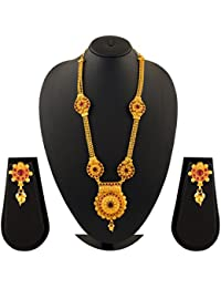 Sapna FX Gold Plated Ruby Stone Long Necklace Set For Women And Girls