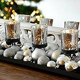 INtrenDU Teelichthalter-Set 52cm Silber Metallhalter Kerzenhalter Windlicht Weihnachtsdeko