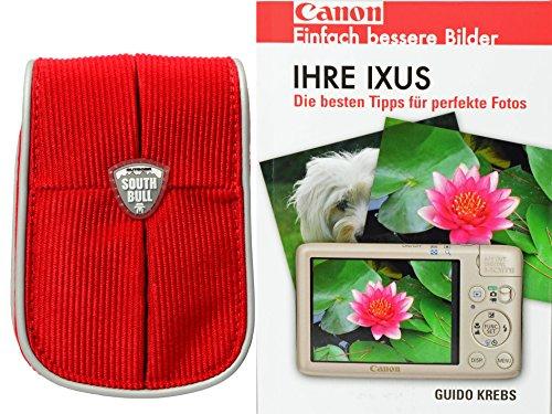Progallio Fototasche Kameratasche Typ CORD rot Modell SOUTHBULL inkl. Taschenbuch IHRE IXUS für Canon Ixus 132 135 140 145 150 155 255 265 S110 S120 510 500 - Rot-taschenbuch