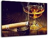 Dark Whisky mit Zigarre , Format:60x40 cm,Bild auf Leinwand bespannt, riesige XXL Bilder komplett und fertig gerahmt mit Keilrahmen, Kunstdruck auf Wand Bild mit Rahmen, günstiger als Gemälde oder Bild, kein Poster oder Plakat