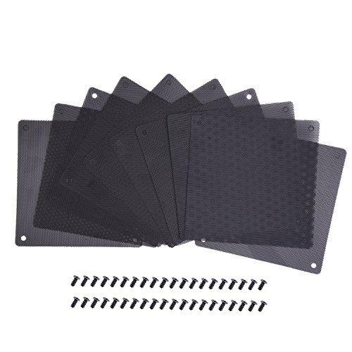 120 mm Staub Filter Computer Ventilator Filter Kühler PVC Schwarz Staubdicht Hülle Decke Computer Mesh 10 Packungen mit 40 Stück Schrauben