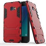 Galaxy C5 Pro Custodia,EVERGREENBUYING Ultra Sottile 2-in-1 SM-C5010 Cases Protettivo Estrema Assorbimento-Urti [Kickstand] Armatura Cover Per Samsung GALAXY C5 Pro Rosso