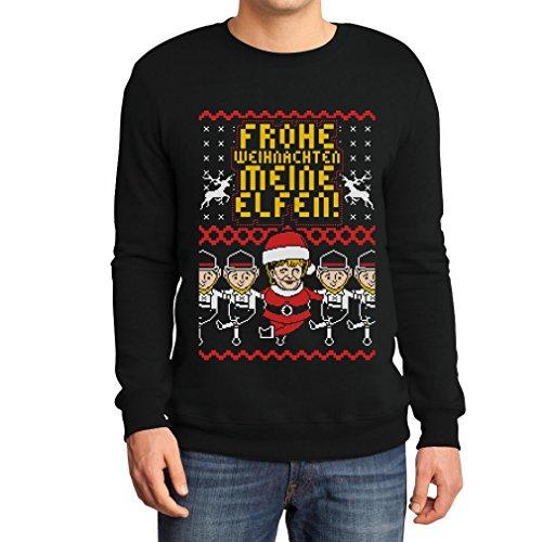 Lustiger Hässlicher Weihnachtspullover Frohes Fest Mutti und Elfen Sweatshirt Large Schwarz