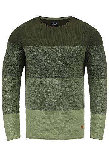 Blend Benno Herren Strickpullover Feinstrick Pullover Mit Rundhalsausschnitt Aus 100% Baumwolle, Größe:L, Farbe:Forest Night Green (77220)