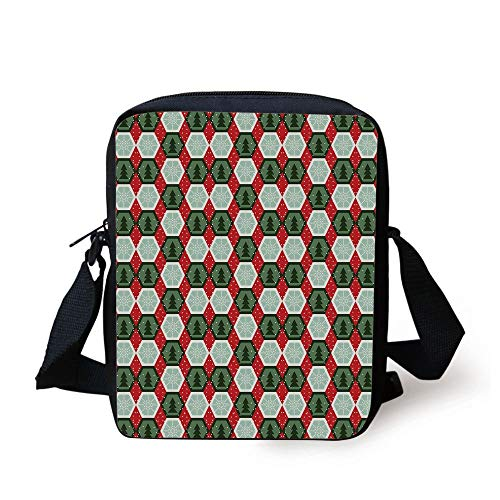 Geometric,Hexagon Shapes with Snowflake and Pine Tree Design Winter Themed,Reseda and Hunter Green Red Print Kids Crossbody Messenger Bag Purse -