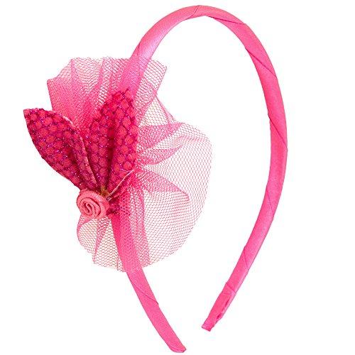 NeedyBee Baby Girls Fuchsia Pink Flower Net Bow Children's Hair Band for Weddings Kids Hair Accessories