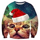 RAISEVERN Unisex Galaxy Space Ugly Christmas Cat Print Lindo Xmas Pullover Sweater para Mujeres Hombres