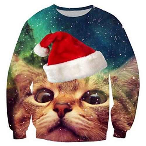 RAISEVERN Unisex Lindo Ugly Christmas Surfing Cat Impreso Galaxy Novedad Xmas Pullover Sweater para Hombres para Mujer