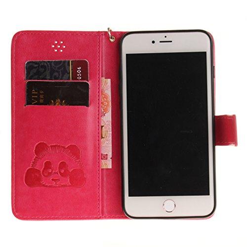 Custodia per iPhone 7 Plus in Pelle,SKYXD Cover per Apple iPhone 7 Plus Custodia Flip Libro 360 Gradi PU Wallet / Porta Carte / Chiusura Magnetica Case Caso di Morbida Colorato Panda Designi PU Portaf Rosso Rose