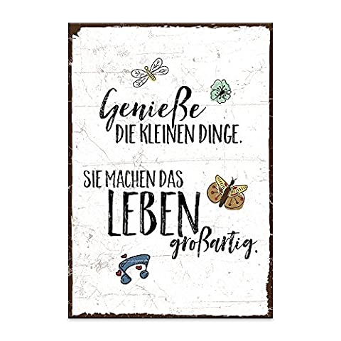 Holzschild mit Spruch – GENIESSE DIE KLEINEN DINGE DES LEBENS – shabby chic retro vintage nostalgie deko Typografie-Grafik-Bild bunt im used-look aus MDF-Holz, Schild, Wandschild, Türschild, Holztafel, Holzbild mit Zitat / Aphorismus als Geschenk und Dekoration zum Thema Genuß und wertvoll von TypeStoff (19,5 x 28,2 cm)