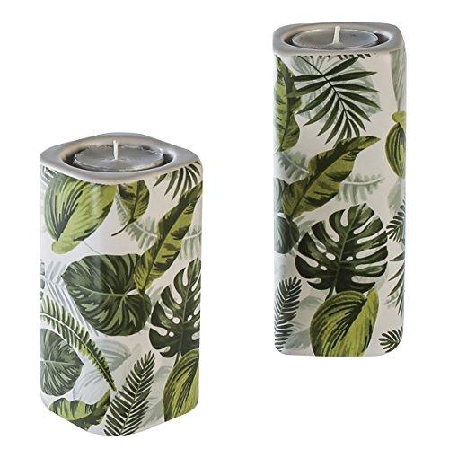 2 x Leuchter Greenery Keramik weiß/grün Höhe 12/15 cm, Beleuchtung, Windlicht -