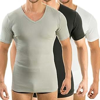 HERMO 4880 Lot de 3 Business Shirt Homme à manche courte avec col V, Maillot de corps demi-manche en 100% coton d'Europe, Taille:2 (S), Couleur:Mix b/n/g
