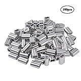 3mm Clip per funi metalliche zincate 15 pezzi Morsetto per cavo metallico in acciaio inossidabile Kitchen-dream Morsetto per funi metalliche