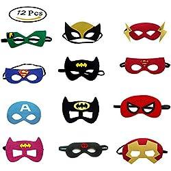Morkia Máscaras para Niños, 12 pcs Máscaras de Superhéroe Máscara de Fieltro con Cuerda Elástica Perfecto para Niños Regalos para Fiestas Cumpleaños