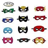 Morkia Maschere per Bambini 12pcs Maschere Feltro Superhero Mask con Corda Elastica,Ideale per Feste di Bambini