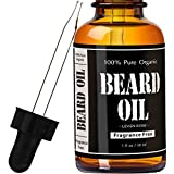 Beard Oil and Leave In Conditioner- Fragrance Free by Leven Rose 100% Pure Natural Organic for Groomed Beards, Mustaches, and Moisturized Skin - 30 ml