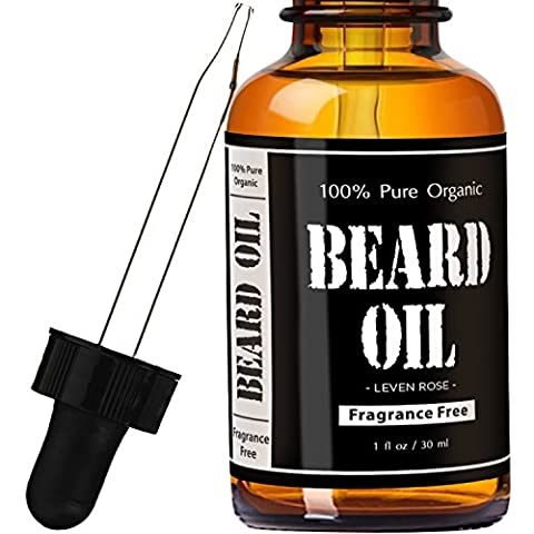 Beard Oil and Leave In Conditioner- Fragrance Free by Leven Rose 100% Pure Natural Organic for Groomed Beards, Mustaches, and Moisturized Skin - 30