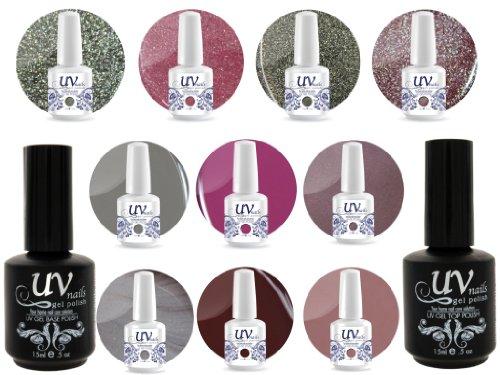 UV Nail Gel Profesionnel Collection Garden of Eden 4 Paillettes Vibrante+6 Gels+Base&Top+Polissoir & Lime a Ongles Aviva