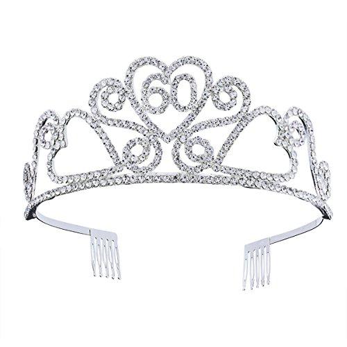 NUOBESTY 60 cumpleaños tiara corona rhinestone princesa