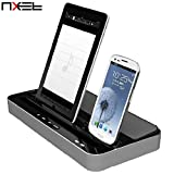 NXET Speaker and Charger, 2-in-1 Docking Station Multi-Function Dual Charging with Audio Bass Player for iPhone 4S/5/5S/5C/SE/6/6S/7 Plus, iPad Air/Mini, Samsung Galaxy and More (Standard, Silver)
