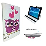 Case Cover für Alcatel One Touch Pixi 3 Tablet Schutzhülle Etui mit Touch Pen & Standfunktion - 10.1 Zoll Liebe Eulen 360°