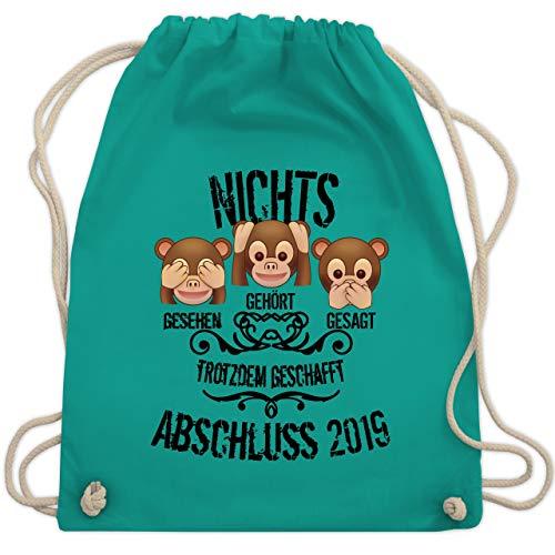 Abi & Abschluss - 3 Affen Emojis ABSCHLUSS 2019 - Unisize - Türkis - WM110 - Turnbeutel & Gym Bag