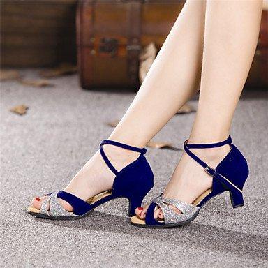 XIAMUO Nicht anpassbare Damen Tanzschuhe Latein Wildleder Cuban Heel Outdoor mehr Farben Blau