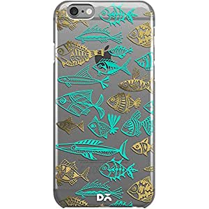 DailyObjects Fish Inkings Turquoise Gold Clear Case For iPhone 6