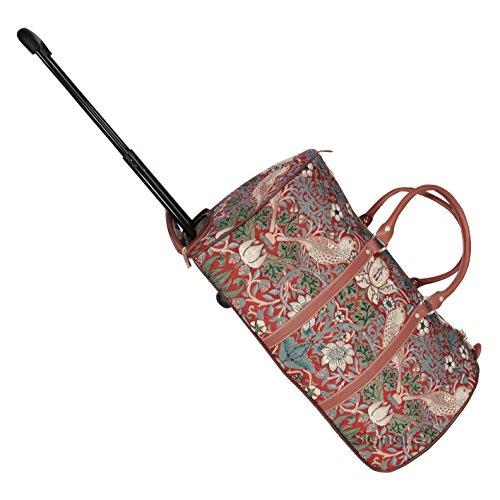 Signare fourre-tout à roulettes tapisserie/ bagage à roulettes et poignée rétractable Fraise voleur rouge