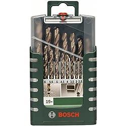 Bosch 2609255133 Set de 19 Forets à métaux rectifiés HSS-Cobalt, Diamètres 1/1,5/2/2,5/3/3,5/4/4,5/5,5/6/6,5/7/7,5/8/8,5/9/9,5/10 mm