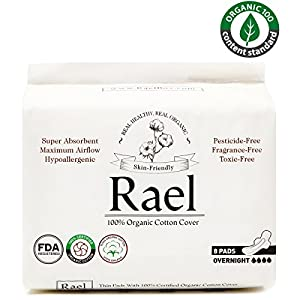 Rael 100% Organic Cotton Menstrual Overnight Pads - Thin Natural Sanitary Napkins With Wings