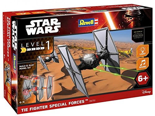 Star Wars First Order Special Forces TIE Fighter im Maßstab 1:51, Level 1, originalgetreue Nachbildung mit vielen Details, Build & Play mit Light&Sound, zum Bauen & Spielen, 06751 ()