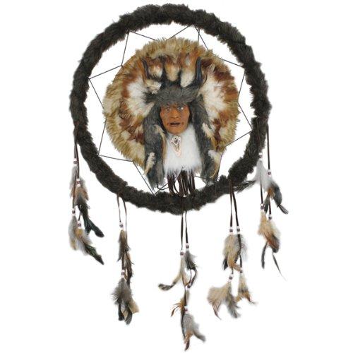 Fashion Kostüm Verwandte - NEU Wand-Deko Traumfänger mit Indianer, Ø 46 cm