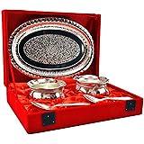 Handicraft Hub India Handi Shape Brass Bowl And Tray Set Of 5 Pcs Silver