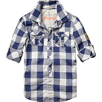 Scotch & Soda Shrunk Jungen Hemd 13410220507 - check shirt with back patch, Gr. 104 (4), Mehrfarbig (K - dessin K)